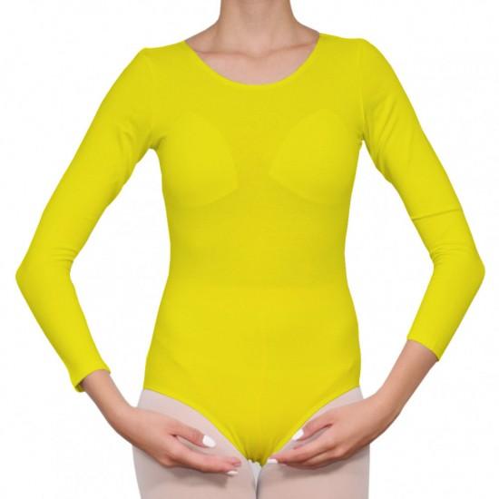 Κορμάκι μπαλέτου γυναικείο με μανίκι 4/4 κίτρινο