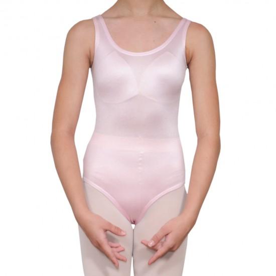 Κορμάκι μπαλέτου γυναικείο με τιράντα ροζ ανοιχτό